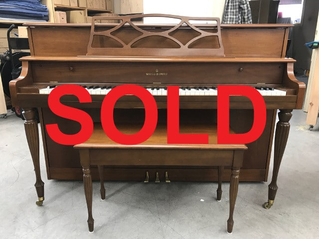 sold - 1971 Willis fully serviced upright piano and matching bench in walnut finish