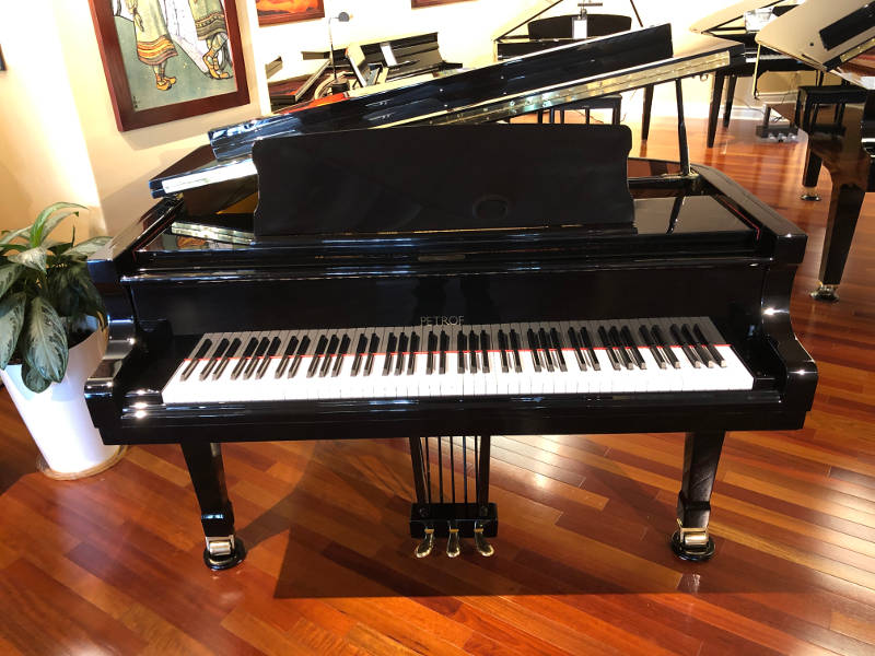 "2002 5'8"" Petrof grand piano, model P IV / 3-A, serial 582874 with deluxe matching adjustable bench in polished ebony finish"