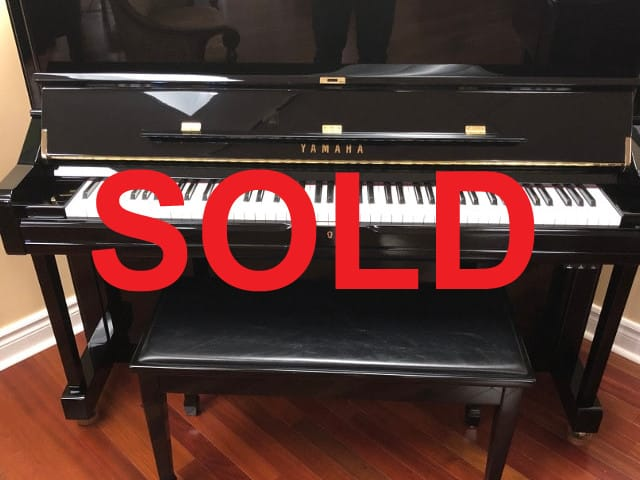 "SOLD - Beautiful! Like new 2014, 48"" professional Yamaha piano and matching duet bench in polished ebony finish."